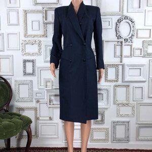 Vintage Navy Linen Blend Blazer Wrap Dress